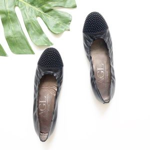 AGL Black Leather Studded Flats